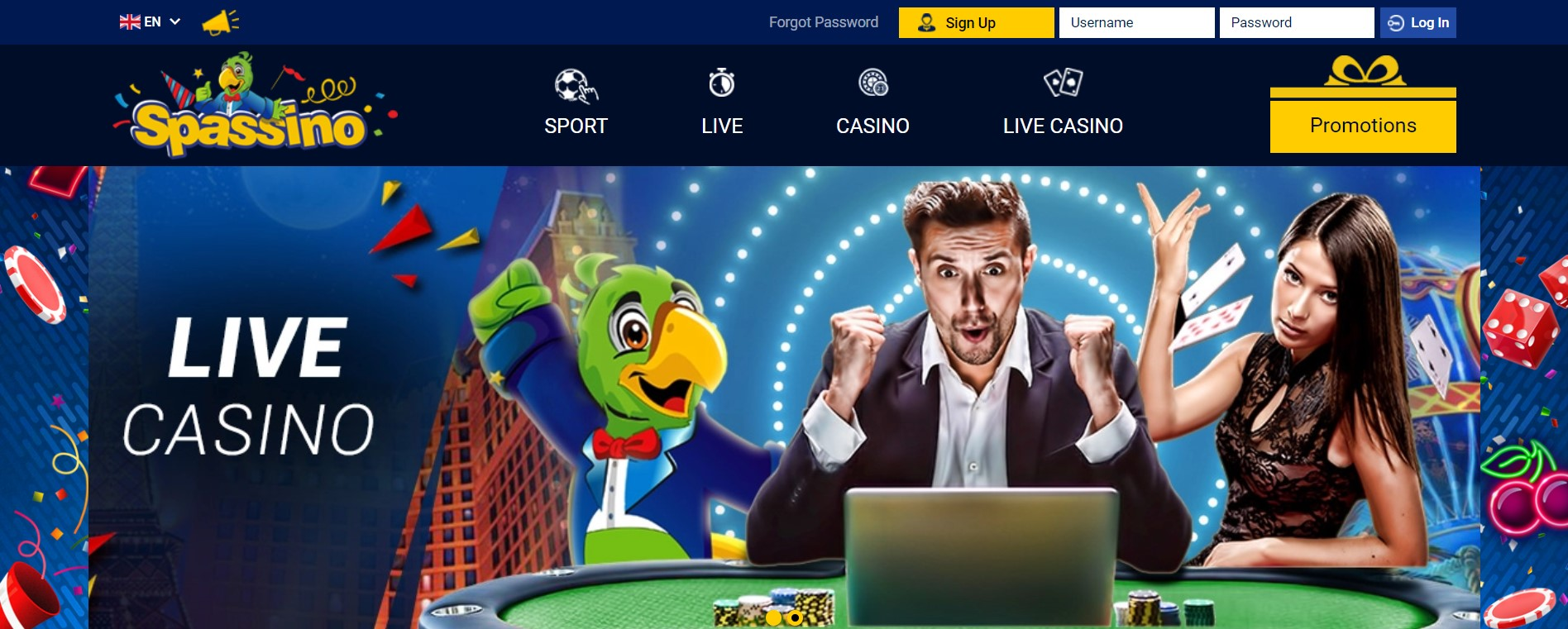Spassino онлайн казино и ставки на спорт